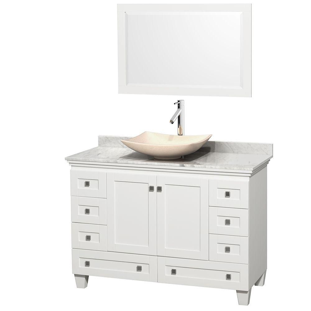 Acclaim 48-inch W Vanity in White with Top in Carrara White, Ivory Sink and Mirror